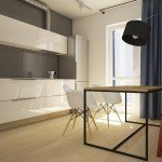 кухня, обеденный стол на металлической раме, современные стулья, минимализм в дизайне