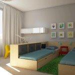 спальня на ребенка, жемчужные стены, мебель из фанеры, светлая детская, яркие акценты, спальные места для детей