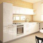 светлая кухня, белая кухонная мебель, фанера и глянец, небольшой винный шкаф