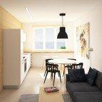 гостиная, совмещенная с кухней, сочетание черного, белого и фанеры, незаметная дверь, стеновые панели из фанеры