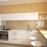 кухня, деревянная столешница, кухонный фартук из фанеры, белая кухонная мебель, сочетание белого цвета и дерева, лаконичное решение