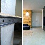 детали, креплеие обеденного стола к колонне, входная дверь, натуральные материалы в интерьере, перспектива, встроенные шкафы