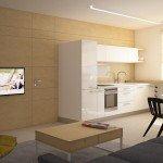 кухня, совмещенная с гостиной, отделка стены фанерными листами, белые глянцевые шкафчики, столешница - подоконник