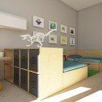 детская комната для двоих детей, спокойная цветовая гамма, модульный комод, мебель из фанеры, яркие акценты в детской