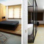 спальня, кровать на подиуме, деревянная стена, переходящая в пол, ковер с геометрическими узорами, минимализм в спальне, встроенные светильники над кроватью, жалюзи в интерьере, стеклянная ванная комната в спальне, сплошная стена шкафов