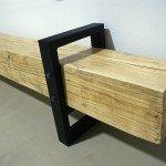 скамья из бруса, современный предметный дизайн, кованый металл, индустриальный стиль, красивая скамья для квартиры
