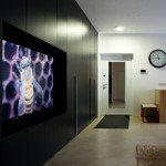 интерьер свободной планировки, оформление входа в квартиру, шкафы от пола до потолка, черный шкаф, контраст черного и и белого в интерьере