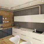 кухня, природные цветовые оттенки в интерьере, переходящая в фартук столешница, кухонные навесные шкафчики без ручек, труба вентиляции как декоративный элемент, цветовой контраст в интерьере