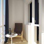 дизайн интерьеа балкона, белый цвет, круглый журнальный столик, контраст темного и светлого в интерьре