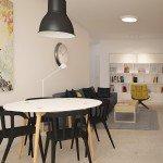 гостиная, совмещенная с кухней, белый цвет в интерьере, черная мебель