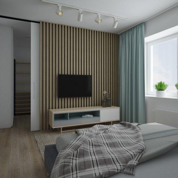 интерьер спальни в светлых тонах, дерево в интерьере, бирюзовый для акцентов, тумба в скандинавском стиле, белый трековый светильник, стена из реек