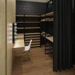 гардероб при спальне, дерево и черный цвет в интерьере, система хранения для девушки, штора вместо двери, туалетный столик